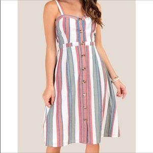 Francesca's   Gia Button Front Midi Dress